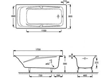 E2915-00 ванна REPOS 170Х80 с отверстиями для ручек-17985