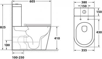 Чаша унитаза-компакта напольного безободкового OWL Vind Cirkel-G с сиденьем DP микролифт-19365