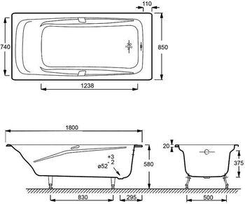 E2903-00 ванна REPOS 180 Х 85 с отверстиями для ручек-17749