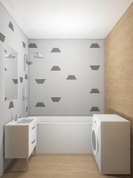Дизайн-проект «Гексагоны и дерево в интерьере ванной комнаты»-16814