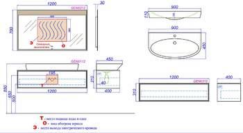 Genesis Т12 миллениум серый КОМПЛЕКТ подвесной с раковиной Escape 900 (GEN0112MG)-12438