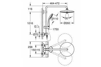Душевая стойка GROHE EUPHORIA SYSTEM с термостатом, верхний душ D26, ручной душ (27296002)-12872