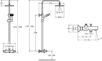 Душевая стойка для душа/ванны JULY с термостатом и круглым верхним душем (хром) Jacob Delafon (E99741-CP)-13032