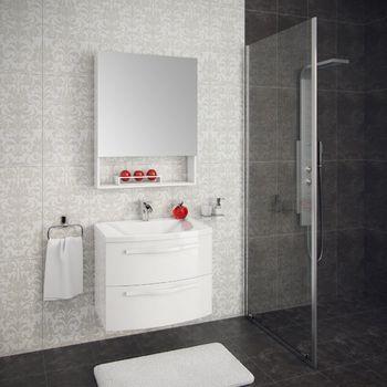 Шкаф зеркальный  FUSION (белый глянец)-15135