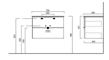 Тумба PIANO подвесная 75 белая 2 ящика -18163