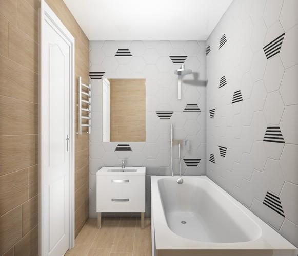 Дизайн-проект «Гексагоны и дерево в интерьере ванной комнаты»