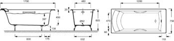 Ванна BIOVE 170Х75 с отверстиями для ручек (E2938-00)-17998