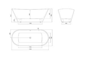 Ванна BORAX 1790×790×650 мм -10537
