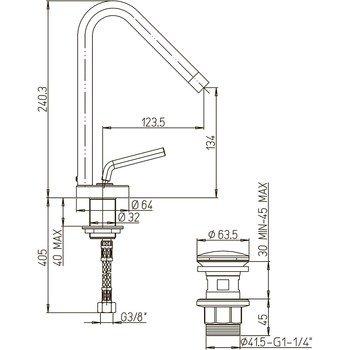 Paini Pixel 81CR211NEWKM смеситель для раковины с донным клапаном-15544
