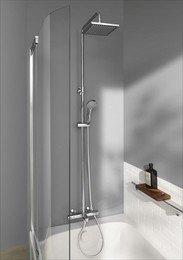 E78192-CP душевая стойка для душа/ванны JULY с термостатом и квадратным верхним душем (хром) Jacob Delafon
