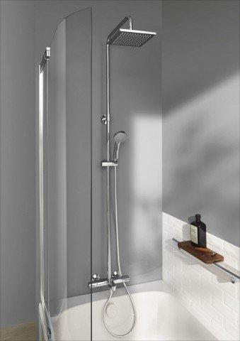 E78192-CP душевая стойка для душа/ванны JULY с термостатом и квадратным верхним душем (хром) Jacob Delafon - главное фото