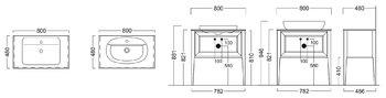 Тумба PLAZA Classic, напольная 80см, 1 выдвижной ящик+1 внутренний ящик, высота 810 мм, цв.капучино-14379