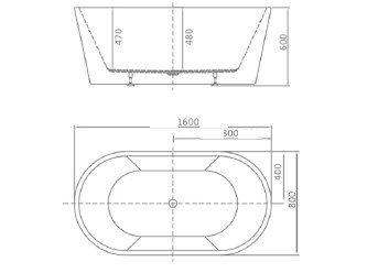 8C-015-160 Ванна GRANADA 160 1600×800×600 отдельностоящая-11551
