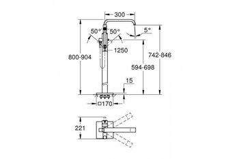 Смеситель однорычажный для ванны Allure 1/2″, напольный монтаж (32754002) GROHE-12603