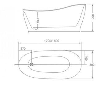 8C-092-170 Ванна ALICANTE 170 1700x800x800 отдельностоящая-11578