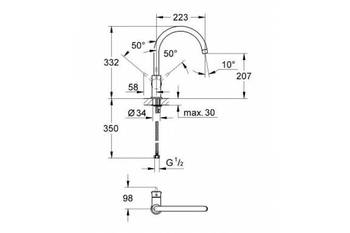 Смеситель для кухни GROHE BauClassic, хром (31234000)-12880