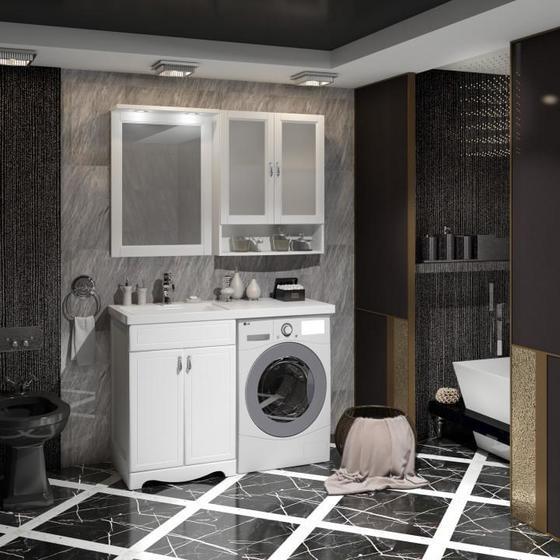 Мебель для ванной Клио под стиральную машину Белый матовый - главное фото