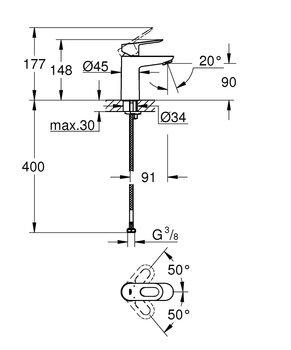 23336000 BauLoop Смеситель для раковины, с цепочкой GROHE-12710