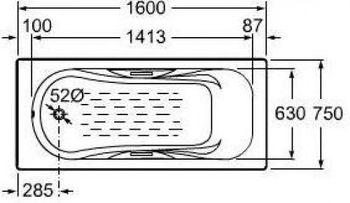 Чугунная ванна Roca Malibu 160х75 с отверстиями для ручек-17957