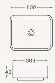 Раковина накладная прямоугольная CS2195 -16169