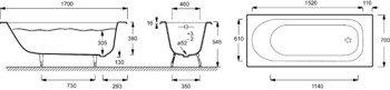 E2921-00 ванна SOISSONS /170x70/ (бел) без отв. под ручки Jacob Delafon-13019