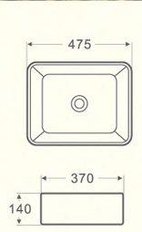 Раковина чёрная накладная прямоугольная CS2074-MB -16165