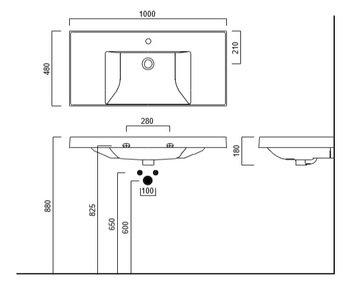 Раковина CUBO 100 см с крепежом-14924