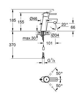 3220610E Concetto New Смеситель однорычажный для раковины, цепочка, EcoJoy GROHE-12737