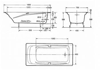 Ванна REPOS 160Х75 с отверстиями для ручек (E2929-00)-17993