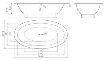 Ванна CUBA 2027×1095×570 мм -10573