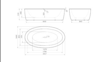 Ванна CORSICA 2027×1095×570 мм -10570