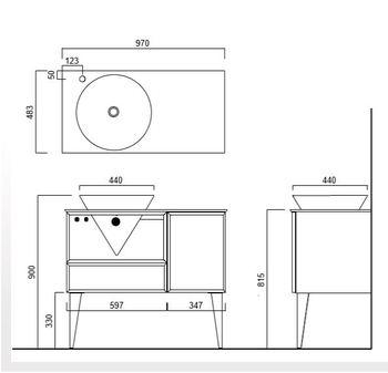 Тумба CONO напольная 97 белая, с открытой полкой джинциана + 2 ящика -18150
