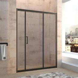 Душевая дверь раздвижная 1400х1950 VN47-140-01-19C1 профиль чёрный с золотом стекло прозрачное 8 мм