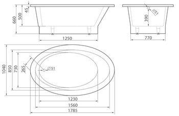 Ванна MILOS 1785×1040×660 мм -10534