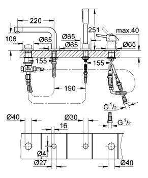 19576002 Concetto New Смеситель для ванны, на бортик, на 4 отверстия (хром) GROHE-12731