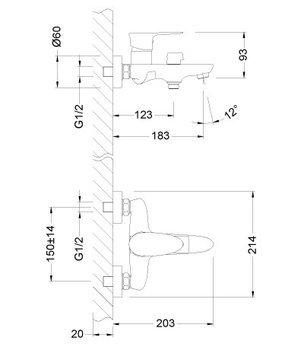 Серия NERO. Смеситель для ванны с монолитным изливом – LM0214C-12477