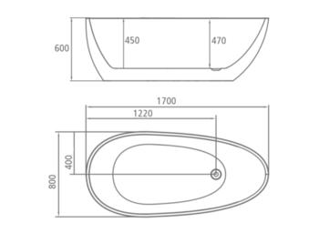 8C-317-170 Ванна TOLEDO 170 1700×800×600 отдельностоящая-11587