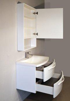 Шкаф зеркальный  FUSION (белый глянец)-15136