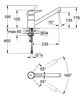 Смеситель для кухни GROHE Concetto c низким изливом, хром (32659001)-12916