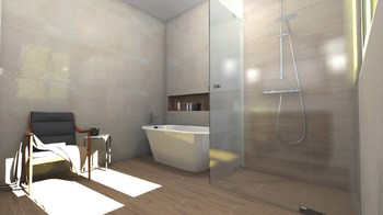 Дизайн-проект «Нежные оттенки в просторной ванной комнате»-18813