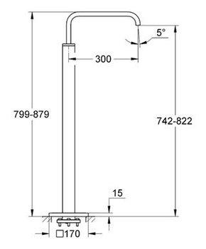 Излив для ванны GROHE Allure, верхняя монтажная часть, напольный монтаж, хром (13218000)-12600