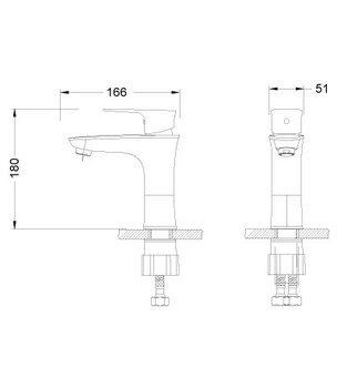 Серия NERO. Смеситель для умывальника монолитный – LM0206C-12475