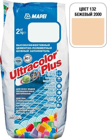 Затирка Ultracolor Plus №132 (бежевый) 2 кг. - главное фото