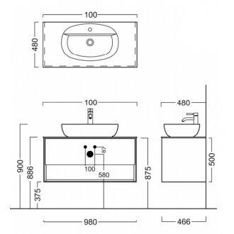 Тумба PLAZA Modern, подвесная 100 см, 2 выдвижных ящика, цв.белый-18070