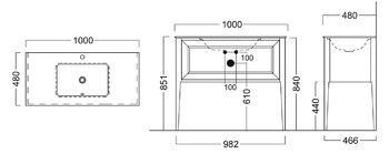 Тумба PLAZA Classic, напольная 100 см, 1 выдвижной ящик, высота 840 мм, цв. белый-14382
