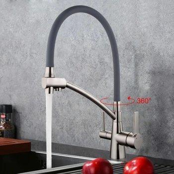 Смеситель для кухни G4398 (сатин фильтр д/питьевой воды + серый силик. носик) -10599