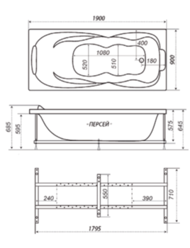 Акриловая ванна Triton Персей 190-10427