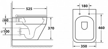 Унитаз подвесной безободковый OWL Eld Ruta-H с сиденьем DP микролифт-19038