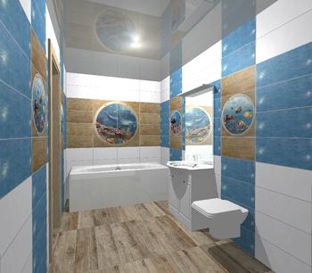 Mural Poseidon II панно (из 8-ми плиток 25*50)-17348