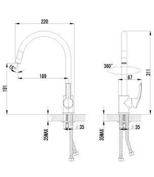 Серия plus STRIKE. Смеситель для кухни c высоким поворотным изливом – LM1105C-12556